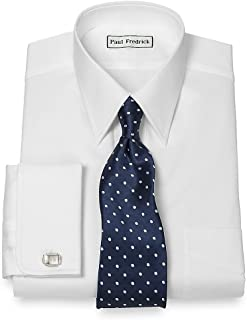 Men's Pinpoint Straight Collar French Cuff Dress Shirt