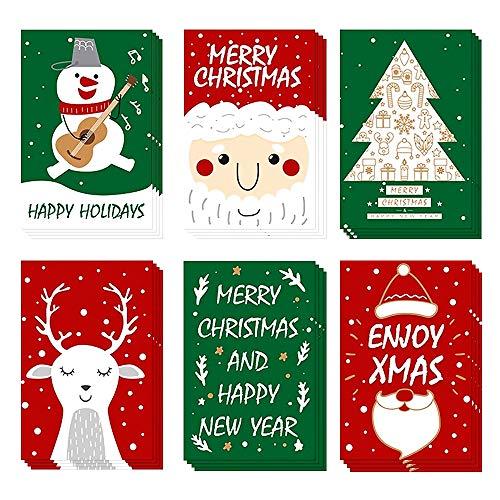 Weihnachtskarten mit Umschlägen und Aufkleber (24er Set), Klappkarten Grußkarten Blanko, Weihnachtspostkarten für Weihnachtsgrüße an Familie, Freunde, Kunden Kinder, Frohe Weihnachten.