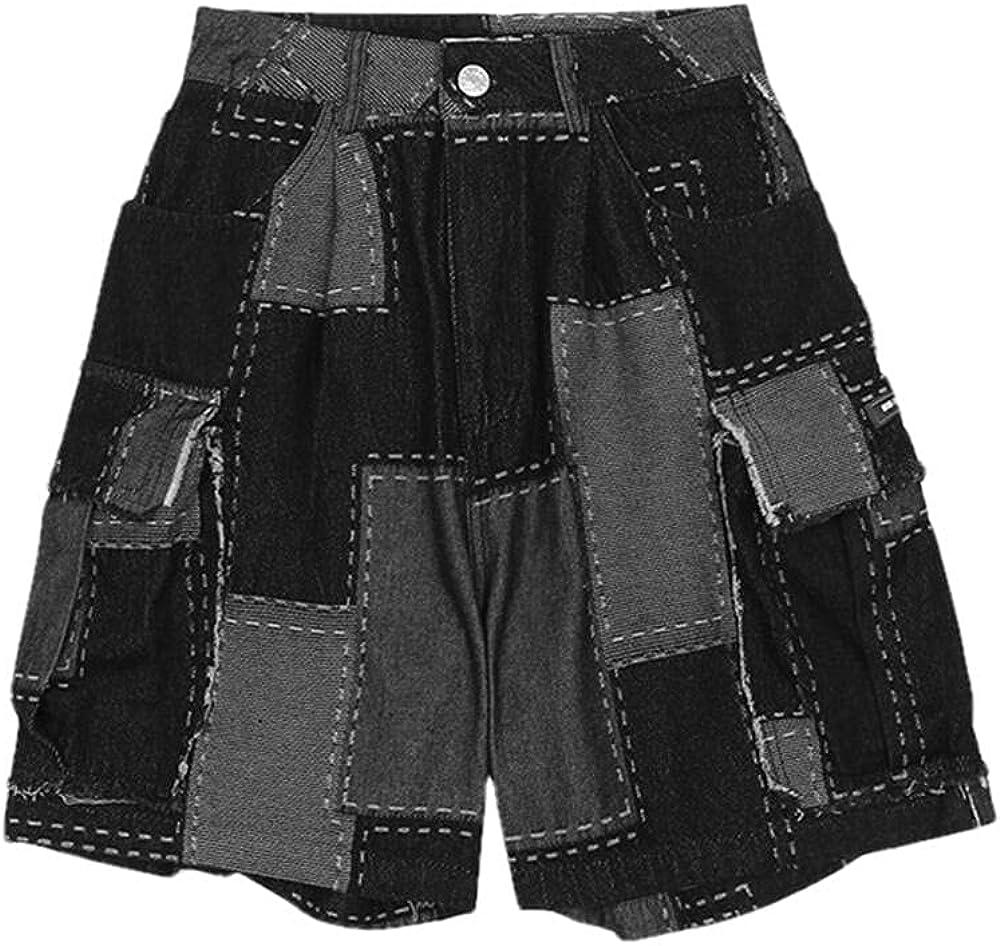 NP Men's Patchwork Denim Shorts Streetwear Loose Fit Hip Hop