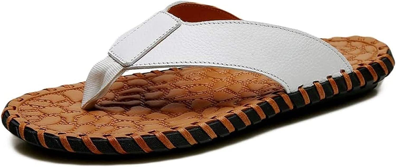 NIANXINN Men's Leather Flip Flops Non-Slip Flat Sandals Comfortable Soft Insole Shoes Bath Slippers (Color : White, Size : 38 EU)