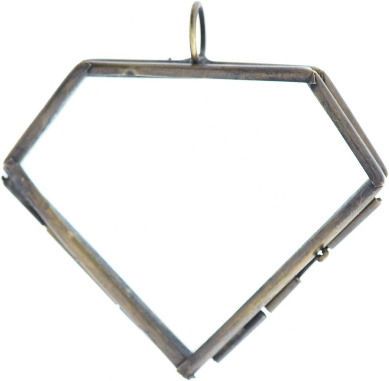 61mm x 59 mm Diamond Glass - Locket Max 48% Ranking TOP16 OFF Pane Antiqued Pendant Brass