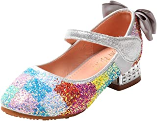 certainPL Sequin Sparkly Princess Shoes for 5-12 Years Old Girls, Kids Girls Perform Dance Shoes Sandals Little Girls Adorable Sparkle Mary Jane Princess Party Dress Shoes