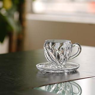 JT Glass 6pcs Cup and 6 pcs Saucer Set Lipton Tea Turkish Coffee Tea Cutting Design Black Tea Tableware Kitchenware Transp...