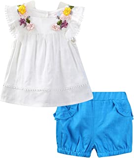 Mud Kingdom Flower Girls Outfits Butterfly Sleeve Shirt and Short Clothes Sets