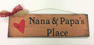 Nana & Papa's Place Country Wooden Wall Art Sign Grandmother Grandparents Christmas Gift Wood Home Decor