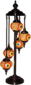Kindgoo Lámpara Turca Suelo Salon Decor Lámpara Oriental Marroquí de Pie Mosaico de Vidrio Multicolor Led Bombillas Incluidas 5 Luces Bronze Base (Marrón)
