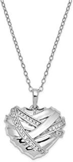 Rhodium-Plated Sterling Silver 18 CZ Bandaged Heart Ash Holder Pendant Necklace 25x25MM