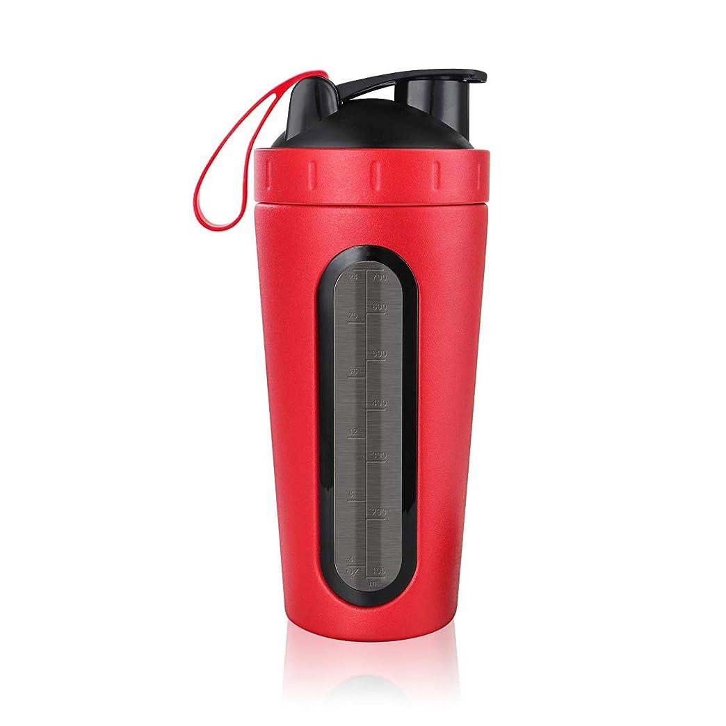 温度計胆嚢エクスタシーSODIAL プロテインシェーカーボトル、ステンレススチールスポーツウォーターボトル シェーカーカップ、漏れ防止、BPAフリー レッド