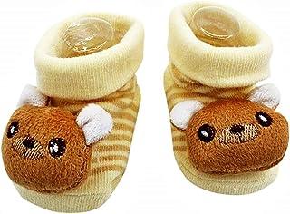 Lovelegis, Calcetines antideslizantes para niños - bebés - 0/12 meses - fantasía - oso beige - hombre - mujer - unisex - Idea de regalo de cumpleaños