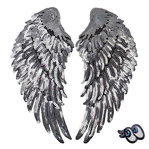 LoveInUSA Sequin Wings Set, 1 Pair of Wings Sequins Patches Silver Applique Wing Applique Iron On Wings Chanel Patches for Clothes Jackets Jeans Dress Hat DIY Accessory
