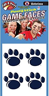Penn State (PSU) Nittany Lions – Waterless Peel & Stick Temporary Spirit Tattoos – 4-Piece – Dark Royal Blue Paw Print