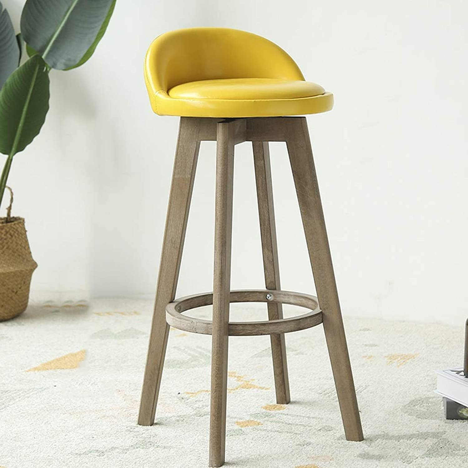 Balcony Chair, with Backrest redatable Wood Bar Chair Tea Shop Coffee Shop Bar Stool Household Kitchen Dining Table Chair (color   Yellow)