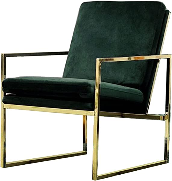 Mr Do Velvet Armchair Dark Green Single Lounge Chair Upholstered Arm Chair Modern Furniture Home Decor For Living Room Bedroom Cafe Brass Plated Gold Finish With Metal Frame Scandinavian Design