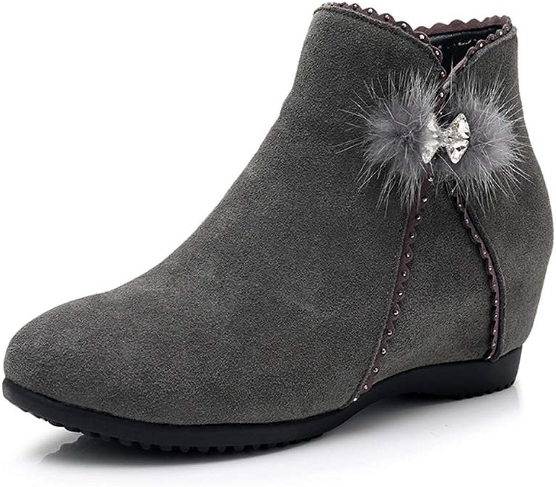 T -JULY Nya Matte Cowhide läder skor skor skor for kvinnor Boot Autumn Winter stövlar Mode skor Rhinestone Ökade snöskor  online mode shopping
