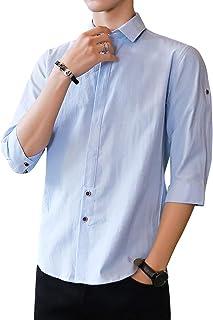 シャツ メンズ 七分袖シャツ リネンコットンシャツ オシャレ フフスリム カジュアルールビズ 春夏秋