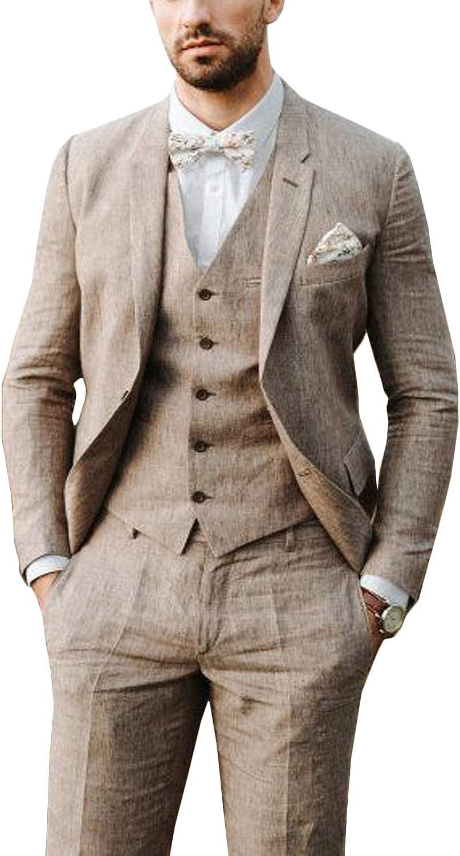 GATMSTZ Men's 3 Pieces Linen Suit 2 Buttons Blazer Coat Single Breasted Vest Pants