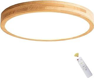 Lampa sufitowa LED z drewna, z pilotem zdalnego sterowania, 24 W, przyciemniana lampa sufitowa do biura, sypialni, nowocze...