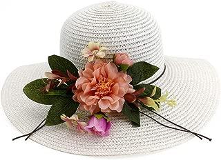 Lady's Sun hat Women's Foldable Effortless Sun Hat Sombrero Husk Hat Sun Flower UV Protection Hat Sun hat (Color : White, Size : 56-58CM)