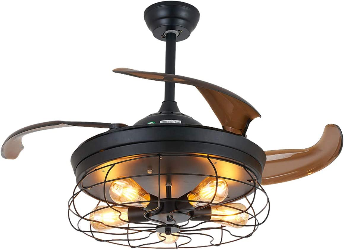 Amazon Com Ceiling Fan With Light Industrial Ceiling Fan Retractable Blades Vintage Cage Chandelier Fan With Remote Control 5 Edison Bulbs Needed Not Included 42 Inch Black Kitchen Dining