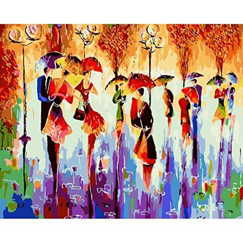Ölgemälde nach Zahlen auf Leinwand, 40 x 50 cm, abstrakt, viele Tänzerinnen