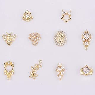 Gold Heart Nail Art Deisgn Square Crystals Zircon Bling Rhinestones Chunky Charms Bees Long Nail Decor Jewels 10pcs