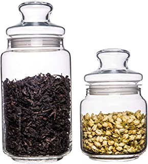 Lot de 2 boîtes de rangement en verre avec couvercle hermétique en silicone pour thé, collation, fruits secs