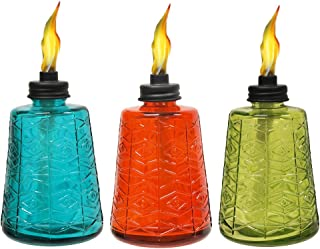 TIKI 6-Inch Molded Glass Table Torch, Red, Green & Blue (Set of 3)