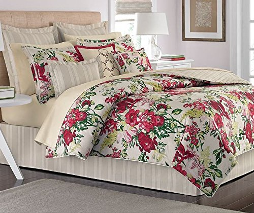 Martha Stewart Lush Blossom 6PC Floral Comforter Set Red / Multi