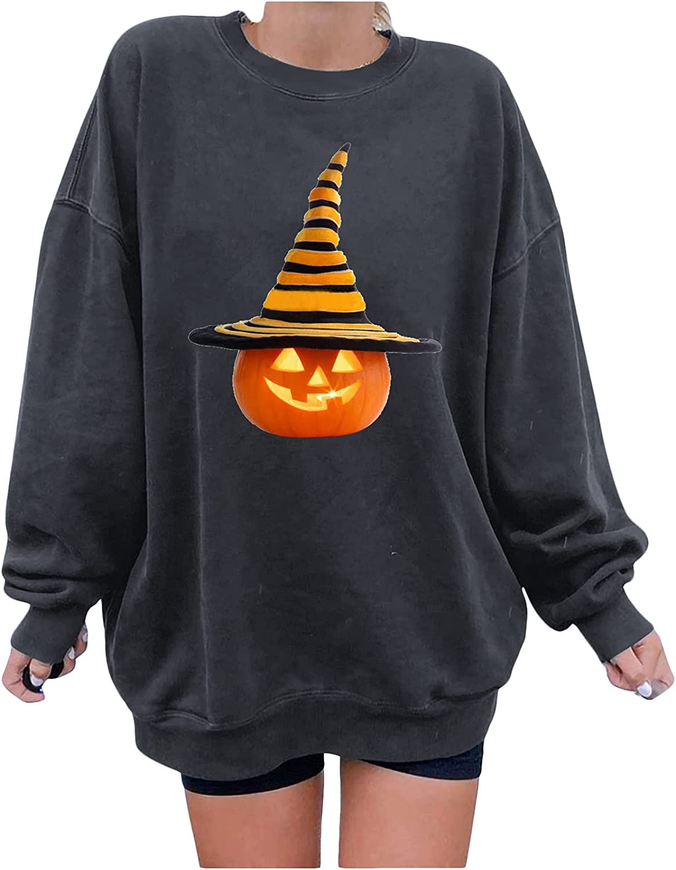 Halloween Women's Pumpkin Print Sweatshirt Hoodie Cute Long Sleeve Casual Pullover Loose Shirt Blouse