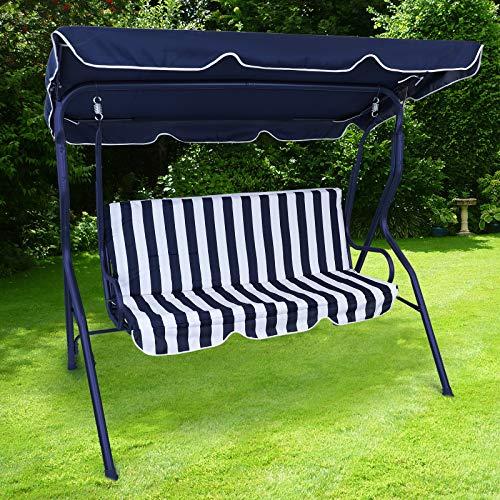 RAMROXX 37457 Hollywoodschaukel Gartenschaukel Outdoor Indoor 3 Sitzer Blau Weiss Blau