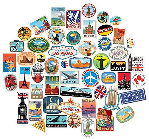 54x Pegatinas de Equipaje Parches de Maleta Etiquetas de Viaje Vintage vinilos de Estilo Vintage...