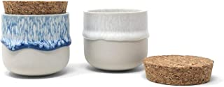 FLOOR | 9 Drip Glaze Salt and Pepper Pinch Pots with Cork Lids