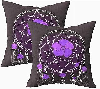Ducan Lincoln Pillow Case 2PC 18X18,Fundas De Almohada,Funda Cuadrada Fundas De Almohada Adornado Dream Catcher Hermosas Flores De Color Violeta Fondo Negro Cojín De Ambos Lados