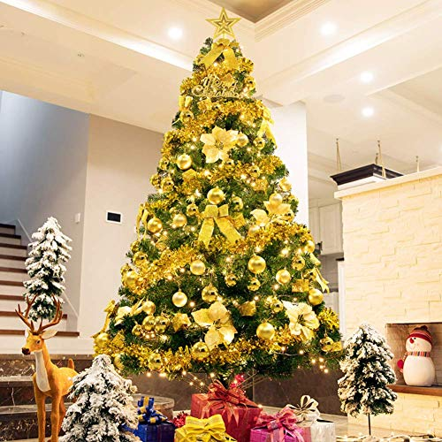 KAUTO Full Artificial Christmas Tree,PVC Encryption Spruce Tree with Led String Lights and Ornaments for Holiday Decoration-a 5ft(150cm)