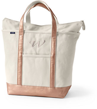 Medium Natural Gold Open Top Canvas Tote Bag from Lands' End