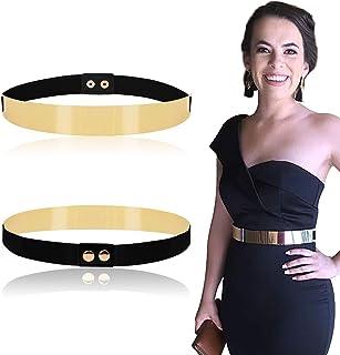 Women Elastic Mirror Metal Waist Belt Metallic Waistband,Golden, One Size