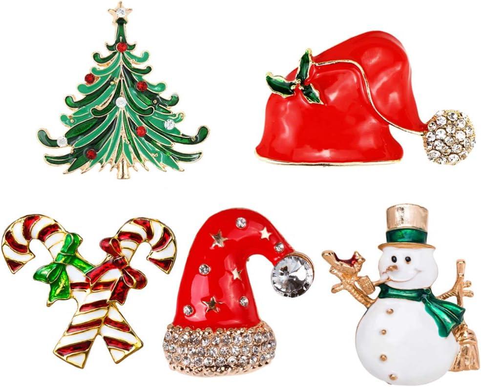 NUOBESTY 5pcs Rhinestone Crystal Christmas Brooch Pins Enamel Lapel Pins Xmas Tree Candy Cane Snowman Santa Hat Brooches Xmas Christmas Party Favors
