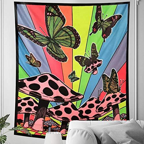 Tapiz psicodélico, diseño de mariposa, decoración para el hogar, mandala hippie, bohemio, decoración de la hoja de yoga esterilla de sofá manta