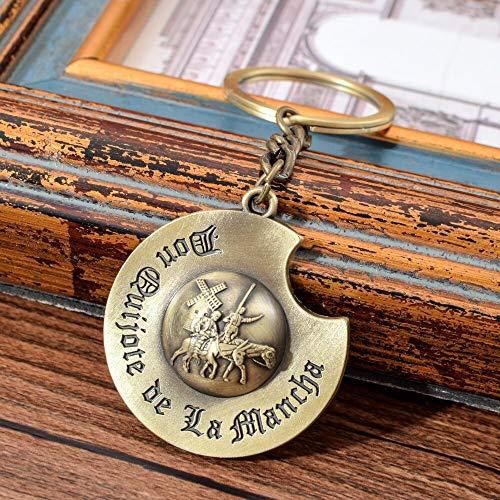 Inveroo Individualidad Sombrero Llavero Vintage Estilo España Don Quijote Patrón Elegante Llavero Portátil Llavero Regalo para Los Hombres