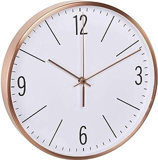 TFA Dostmann Reloj de Pared radiocontrolado con Marco de Metal Color Cobre, Metal, 310 x 55 x 340 mm