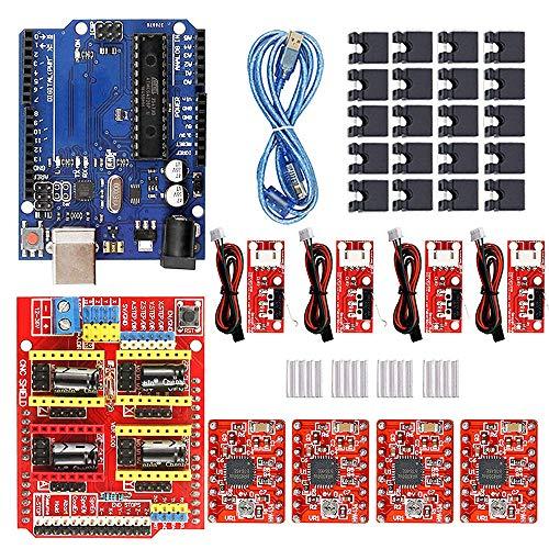 CNC Shield V3 Development-Board 3D - Kit stampante CNC, con driver passo-passo A4988, scheda microcontrollore, scheda ATmega328 con cavo USB, interruttore endstop Endstop, compatibile con ArduinoIDE