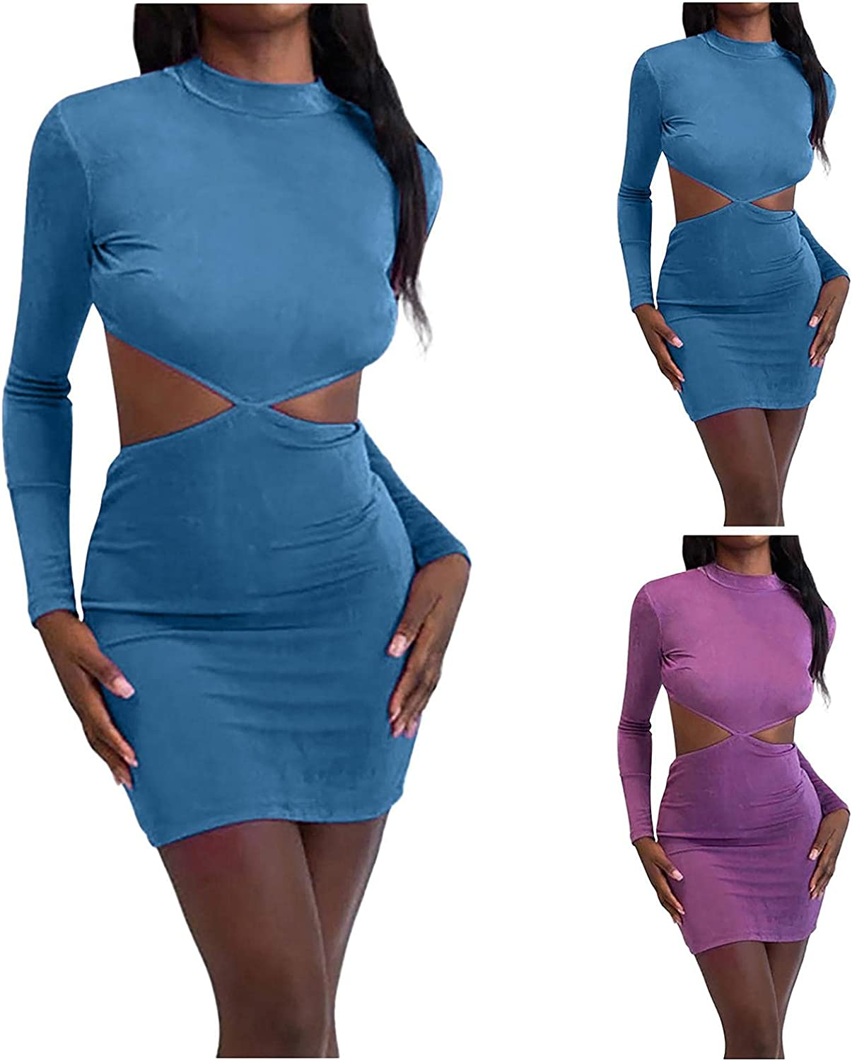 Womens Sexy Bodycon Mini Dresses Long Sleeve Top Casual Back lace-up Dress Party Clubwear Sundress Cocktail Dresses