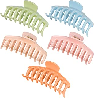 SOLUSTRE 5pcs Large Claw Clips Simple Hair Claw Banana Clips Ponytail Holder Gripper French Hair Accessories for Women (Pi...
