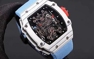 JFfactory - JFfactory Reloj clásico de Lona Azul para Hombre, Cristal de Zafiro, automático, mecánico, Fibra de Carbono, Esfera esquelética, Relojes Deportivos limitados