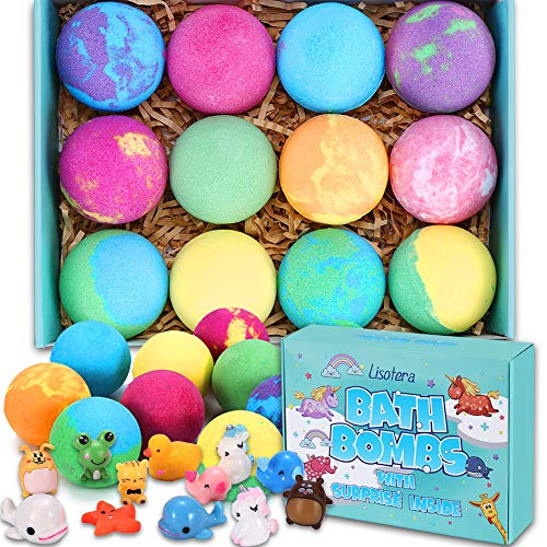 Bath Bombs for Kids with Surprise Inside - 12 Gift Set for Girls Boys, Bubble Bath Fizzies Vegan...
