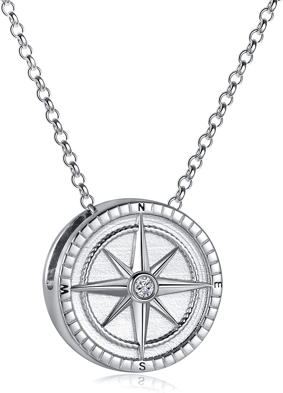 925 Silver Compass Urn Necklaces for Ashes I'D Lost Without You Cremation Jewelry Memorial Keepsake Pendant for Women