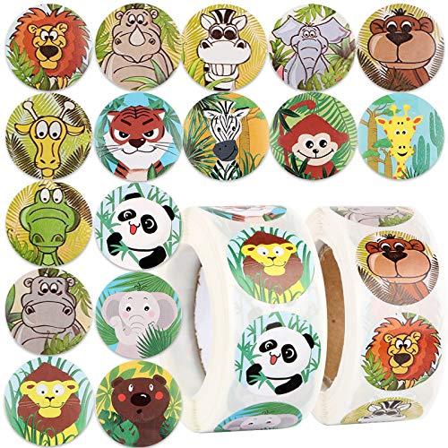 1000pcs 2.5cm Pegatinas de Animales Papel Etiquetas Adhesivas Redondas para Scrapbooking Decoración Cajas Bolsas Regalos Sobres Fiesta