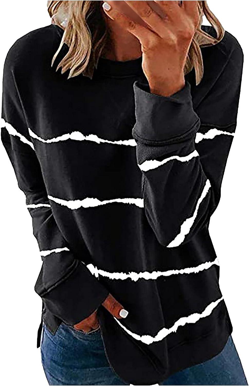 Womens Fashion Classic Striped Print Sweatshirt Long Sleeve O-Neck Pullover Tops