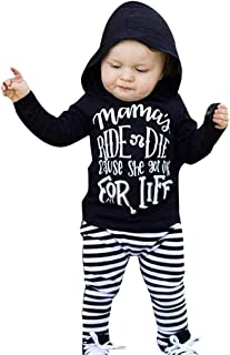 Toddler Baby Girls Boys 3-24 Months Letter Hooded Tops Stripe Pants Trousers Outfits Set