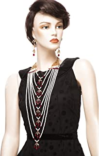 Bridal Hyderabadi Satlada Long Princess Necklace with Dangle Earrings in Cultured Pearls and Simulated Ruby